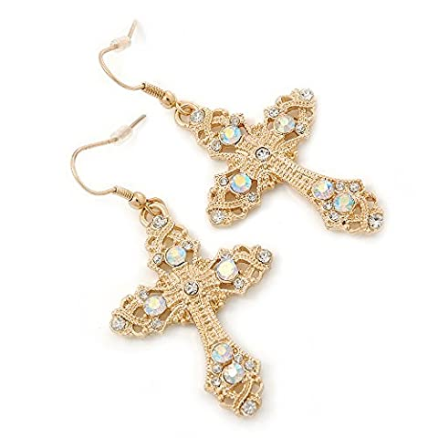 Clear/AB Crystal Filigree Cross Drop Earrings In Gold Plating - 55mm Length