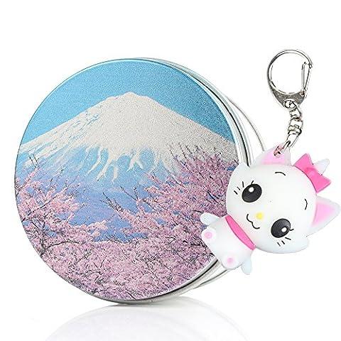 Kenor Sakura Fuji Mount Cartoon Kitty Cat Fun 8G USB Memory Stick Flash Drive Data Storage Device Pendant with Keychain & Metal Box Packing, Novelty Cute Gift / Present to Friends Kids Children 8G/16G/32G/64GB