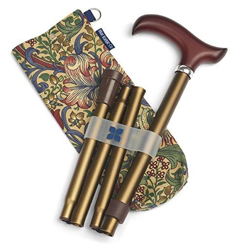 Blue Badge Verstellbarer und faltbarer Gehstock Stilvolle Aufbewahrung Tasche, Bronze/William Morris Golden Lily