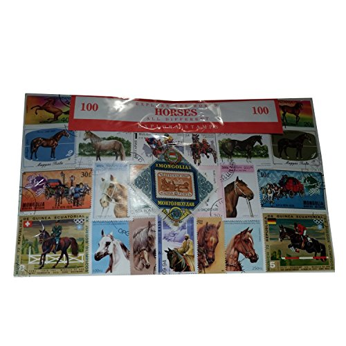 Horse Horses, Worldwide Stamps from Around The World, Collectable Set of 100 Postage Stamps! Souvenir / Speicher / Memoria! 100 Different Stamps! Timbre-Poste / Briefmarke / Francobollo / Sello de Correos! -