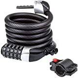 Blusmart Bike Security Cable Lock Combination with Flexible Mount Twisted Metal Cable 6-Feet x 0.47-Inch Heavy Duty of 1.35lbs for Bicycle Tricycle Scooter