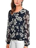 DJT Damen Gepunktet Loose Fit Bluse Chiffonshirt Rundhals Langarm T Shirt Oberteil Blau-Blumen 2 XL