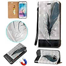 "Linvei Samsung Galaxy S6 Edge(5.1"" Inch) Funda de PU cuero, Ultra Slim PU Cuero Folding Stand Flip Funda Carcasa Caso Funda para Samsung Galaxy S6 Edge-pluma"