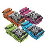 ToCi 4 x Stabiles Kofferband, Koffergurt, Zahlenschloss, 1,8 Meter- untersch. Farben