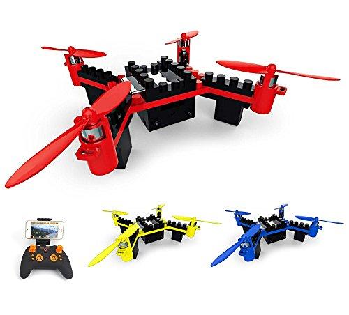 4.5 Kanal RC ferngesteuerter Quadcopter aus Bausteinen, eingebaute FPV Wifi Kamera mit Live-Übertragung auf Smartphone, DIY Drohne Modellbau, Komplett-Set inkl. Fernsteuerung, Akku, Ladekabel (Drohne Für Smartphone)