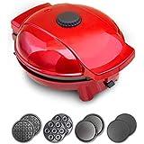 CGOLDENWALL Donutera Wafelijzer, 4-in-1, anti-aanbaklaag, met 4 afneembare en verwisselbare borden, 0-200 graden Celsius, the