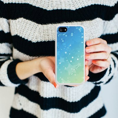 Apple iPhone 5s Housse Étui Protection Coque Petite étoile Étoiles Motif Housse en silicone blanc