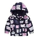MRULIC Kinder Mädchen Jungen Floral Bedruckter Frühling mit Kapuze Licht Mantel Reißverschluss Jacke Tops Sonnenschutz Kleidung 1-6 Jahre(B-Marineblau,120-130CM)
