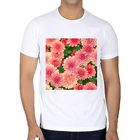 Camiseta Cuello Redondo para Hombre - Dalias Rosadas Flores Floral by Petra