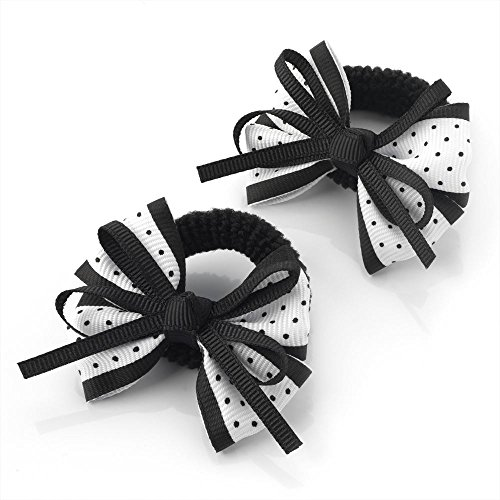 2 x 5.5cm Black & White Polka Dot Design Bow Hair Ponio Elastics Bobbles Back to School