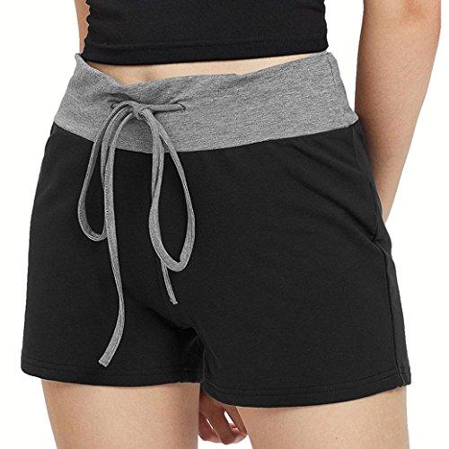 ESAILQ Shorts Women Summer Camouflage Workout Yoga Hot Shorts Drawstring Casual