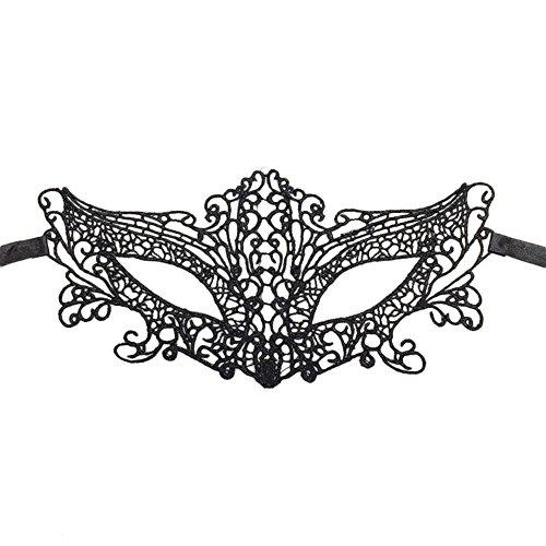 Demarkt Schwarz Spitze Maske Damen Sexy Augenmaske Maskerade Gesichtsmasken Halloween Party Kostüm Stil ()