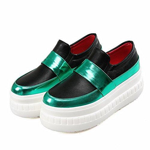 AgooLar Damen Rund Schließen Zehe Hoher Absatz Gemischte Farbe Ziehen Auf Pumps Schuhe Grün