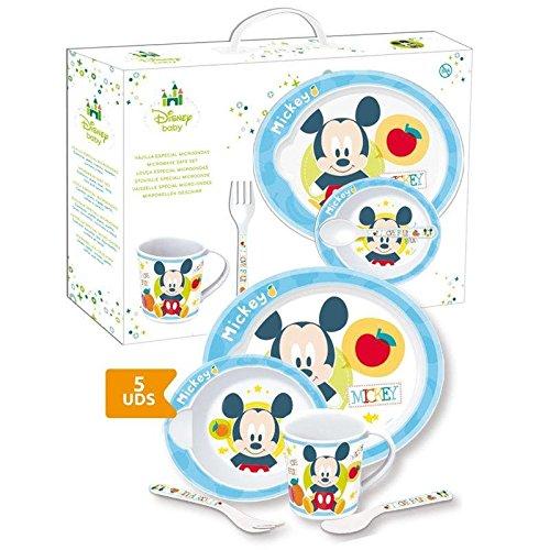 STOR 30479 Mickey Disney Baby Set Pappa 5 Pezzi con Piatto, Ciotola, Tazza, Cucchiaio e Forchetta, Azzurro