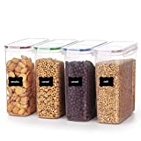 YIHONG 4L Grande Recipientes para Alimentos con Tapa- Recipientes Hermeticos Sin BPA,Juego de 4 + 24 Etiquetas y Marcador, para Cereales, harina,café, etc