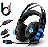 Auriculares Gaming PS4, Bass Surround, Cancelacion ruido, Cascos Gaming con Micrófono, 3.5mm Jack, Luz LED, Compatible con PC/Xbox One/Móvil