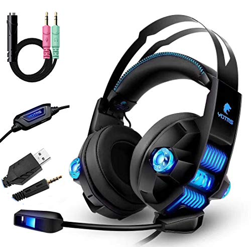 Auriculares Gaming PS4, Bass Surround, Cancelacion ruido, Cascos Gaming con Micrófono, 3.5mm Jack, Luz LED, Compatible con PC/Xbox One/Móvil