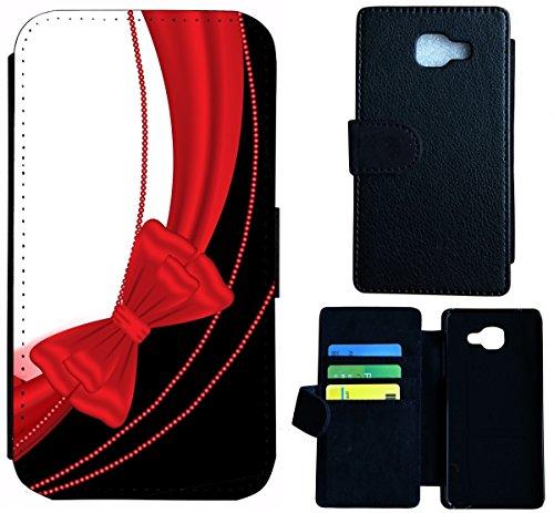 Flip Cover Schutz Hülle Handy Tasche Etui Case für (Apple iPhone 4 / 4s, 1592 Motorrad Schwarz Gelb) 1598 Schleife Rot Schwarz Weiß