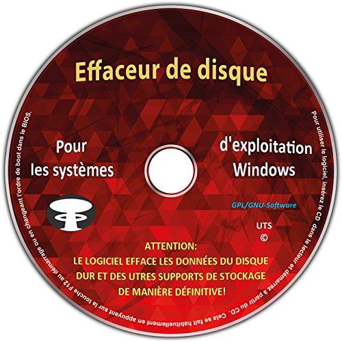 Effaceur & formateur de disque dur pour les systèmes d'exploitation Windows 10 / 8 / 7 / Vista / XP (32 & 64 Bit), destructeur de données, suppression sécurisée de données