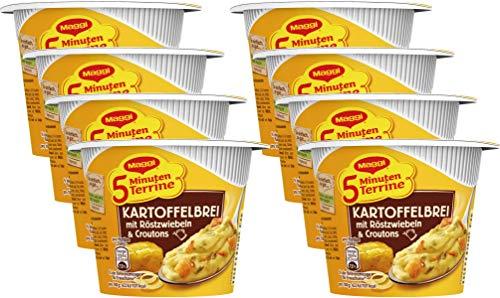 Maggi 5 Minuten Terrine Kartoffelbrei mit Röstzwiebeln & Croutons, 8er Pack (8 x 56 g)
