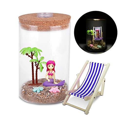 Adkwse Strand-Mikrolandschaft mit Lichtern Miniliegestuhl Meerjungfrau Palme DIY Deko Strand Geschenke