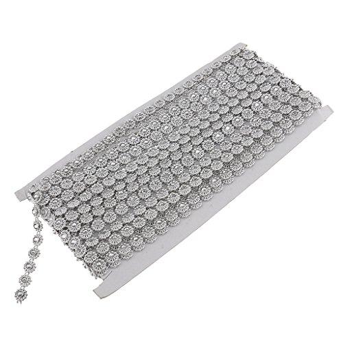 Baoblaze 9,1 Meter Diamante Silber Blume Kristall Perlen Kette Ribbon Trim Für Hochzeitsgeschenk Verpackung Dekoration -