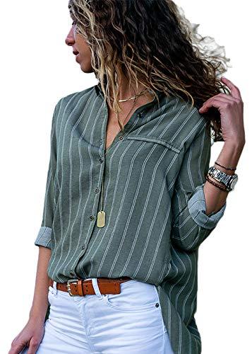 Dokotoo Damen Bluse Elegant Chiffon V-Ausschnitt Langarm Casual Oberteil Lose Langarmshirt Vintage Tunika Hemd T-Shirt S-XXL (Medium (EU40-EU42), Grün)