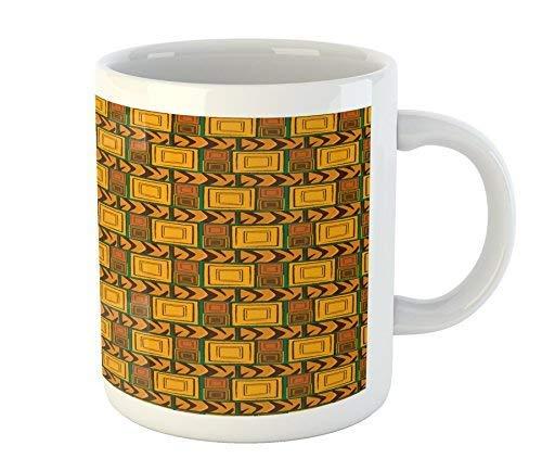 Zambia Mug Kenya Ethnic Motif with Geometrical Aztec Native American Effects Print Printed Ceramic Coffee Mug Water Tea Drinks Cup Aztec Cup