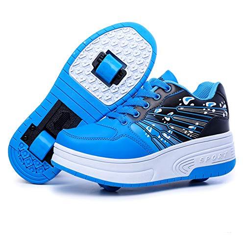 Scarpe per Pattini a rotelle per Bambini ultraleggere con/Singole Due Ruote Scarpe da Tennis Unisex Cuscinetti silenziosi Suole Resistenti all'Usura Stivali-Bluedoublewheel-35