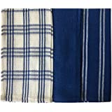 """Lushomes Super Absorbent and Soft Blue Kitchen Towels (13"""" x 22"""", Pack of 3)"""