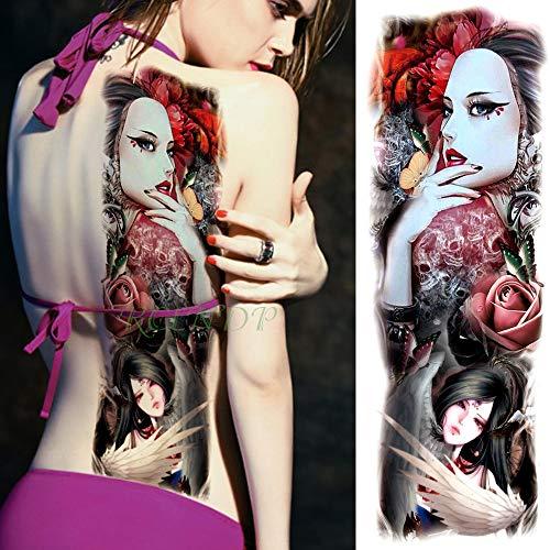 handaxian 3pcs autoadesivo del tatuaggio impermeabile rose ms manica del tatuaggio braccio completo di grandi dimensioni ragazze uomini e donne 3pcs-1