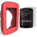 TUSITA Funda protectora de silicona + Protector de pantalla para Garmin Edge 520 820 GPS Bike Computer (rojo)
