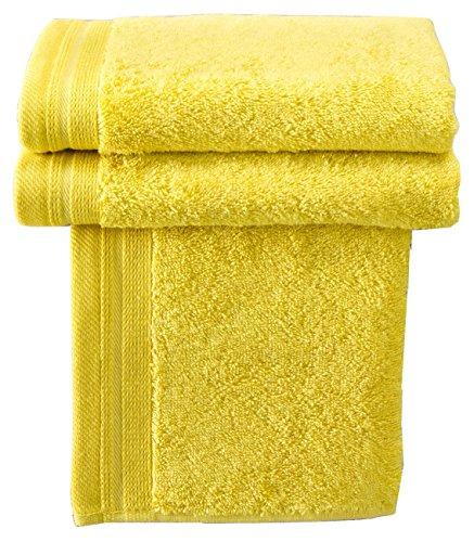Lote toalla de baño amarillas. 100% algodón. 50 x 100cm