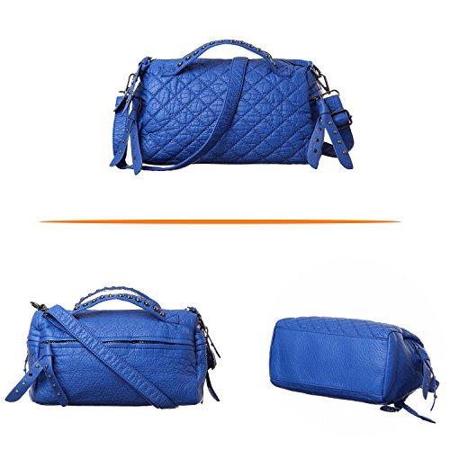 Katloo Damen Leder Schultertasche Kleine Handtasche Umhängetasche mit Niet und Viele Reißverschluss Fächer (Schwarz) Blau
