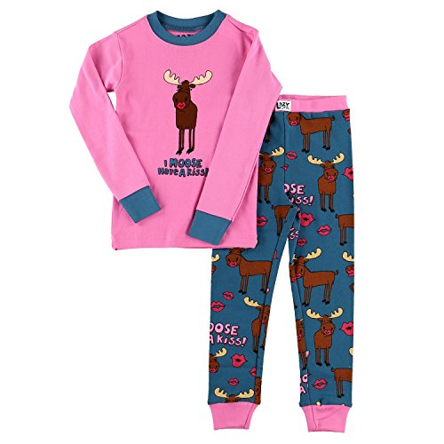 Lazy One Girls I Moose Have A Kiss Kids PJ Set Long Sleeves