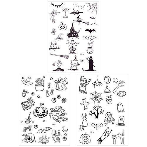 SpringPear 3X Temporär Horror Tattoo Leuchtende Aufkleber für Halloween Party Wasserfeste Tätowierung mit Kürbis Geist Skelett Set Leuchtet im Dunkel (3 Pcs Le-006 Le-007 Le-008)