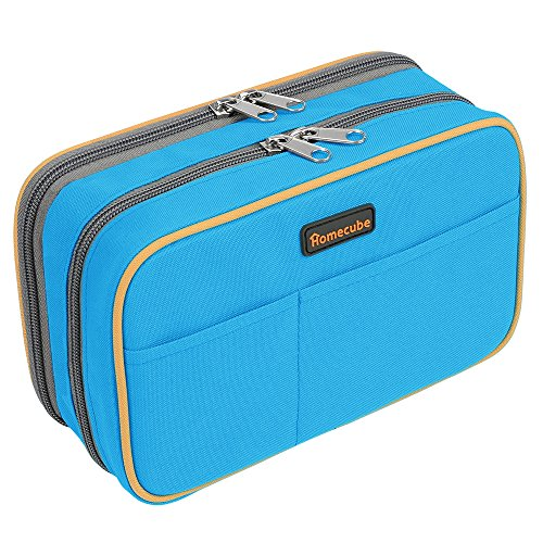 Homecube Large Capacity Pencil Case with Compartments Pencil Holder Office School Students Stationery Makeup Pouch Pen Bag with Double Zipper 22*14*8.3CM(Blue)
