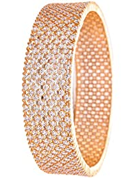 Ratnavali Jewels Beautiful CZ Studded Gold Plated American Diamond Traditional White Bangles Set For Women RV2944