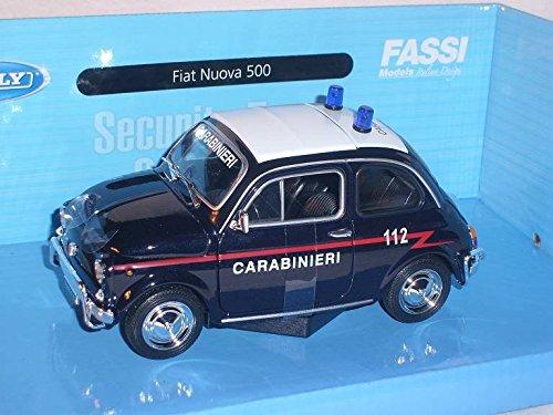 Fiat-500-Klassik-Carabinieri-Polizei-Blau-Ur-Modell-ab-1957-124-Welly-Modell-Auto-mit-oder-ohne-individiuellem-Wunschkennzeichen