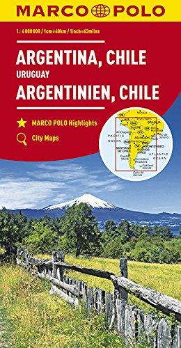 MARCO POLO Kontinentalkarte Argentinien, Chile 1:4 000 000: Bolivien, Paraguay, Uruguay, Falkland: Wegenkaart 1:4 000 000 (MARCO POLO Kontinental /Länderkarten)