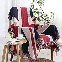"""Raylans US Flag Stampa Cottonthrow Coperta–Super Morbido Leggero Accogliente Caldo per Divano Letto Sedia Ufficio Divano–Great Gift for Men Donne House–129,5x 177,8cm, UK Flag, 51""""x70"""""""