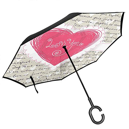 Heart Umbrella Love Quote Letter for Valentine Car Reverse Double Layer Inverted Windproof Protection Protection Umbrella C-Shaped Handle -K4