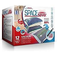 SpaceSaver Ahorro de Espacio Premium de Bolsas al vacío, Pack de múltiples (3x Pequeño, Mediano, Grande y Extragrande), 80% más de Espacio Que Otras Marcas. Incluye un Bomba de Mano para Viajes