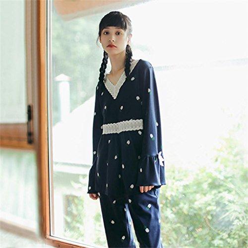 ALUK- Autunno e inverno - pigiama casa indossare abiti in pizzo di cotone tinta unita ( Colore : As shown , dimensioni : L. ) As Shown