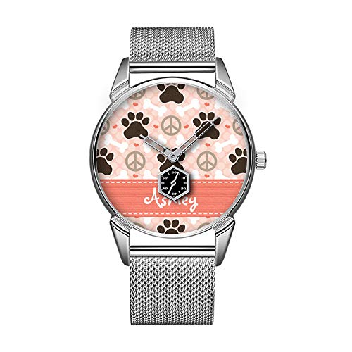 Mode wasserdicht Uhr minimalistischen Persönlichkeit Muster Uhr -656. Personalisierte Friedens LiebesHunde Pawprint