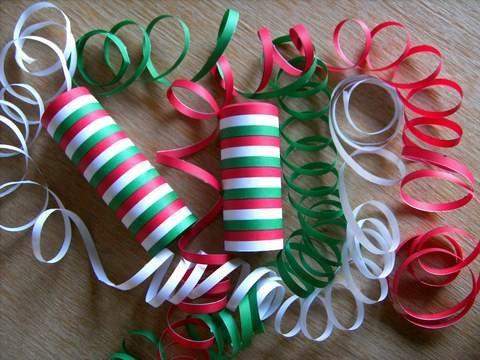 Luftschlangen grün/rot/weiß, 3 Rollen - Luftschlangen Grüne