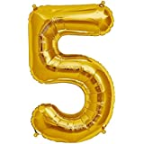 Balloonistics Number Five foil Balloon 16 inch Balloon (Gold, Pack of 1)