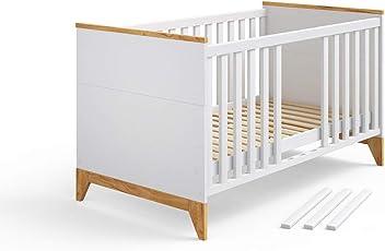 Vicco Babybett Malia Babybett, Kinderbett, Juniorbett 140x70 Cm Mit  Trennwänden Höhenverstellbare Liegefläche