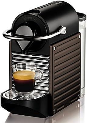 Nespresso Pixie Dark Brown XN3008 Krups  - Cafetera monodosis (19 bares, Apagado automático, Sistema calentamiento rápido), Color marrón oscuro