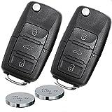 Auto Schlüssel Funk Fernbedienung 2x Gehäuse 3 Tasten + 2x Rohling HAA + 2x CR2032 Batterie für VW/SEAT/SKODA (bis 11/2009) 2T